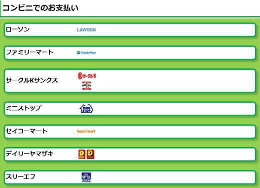 ビットフライヤー コンビニ選択画面
