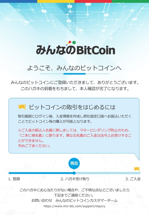 みんなのビットコイン 確認ハガキ