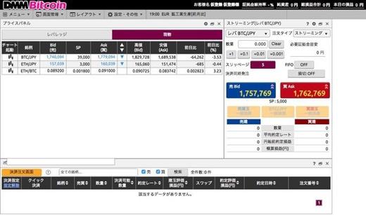 DMMビットコインの取引画面