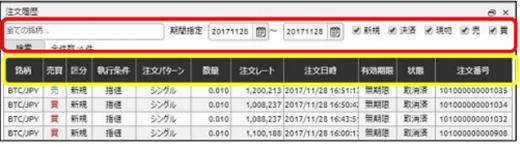 DMMビットコイン 注文履歴画面