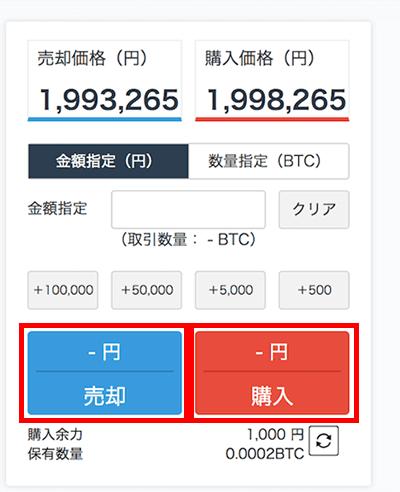 仮想通貨現物売買画面